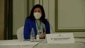 La secretaria de Estado de Defensa, Esperanza Casteleiro, durante un desayuno informativo.