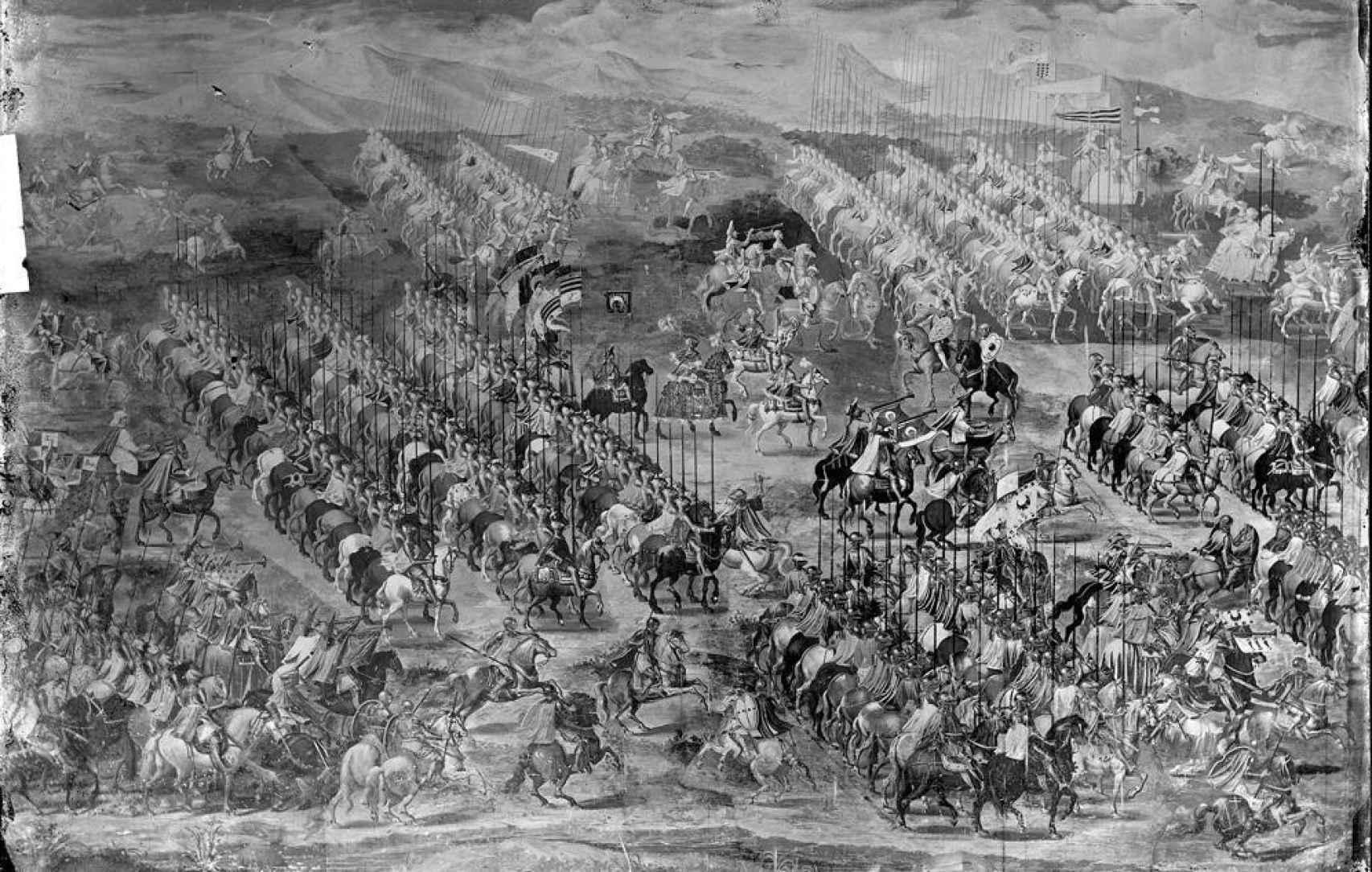 Fresco de la batalla de La Higueruela, en la Sala de Batallas del Escorial, en una fotografía tomada por Jean Laurent.