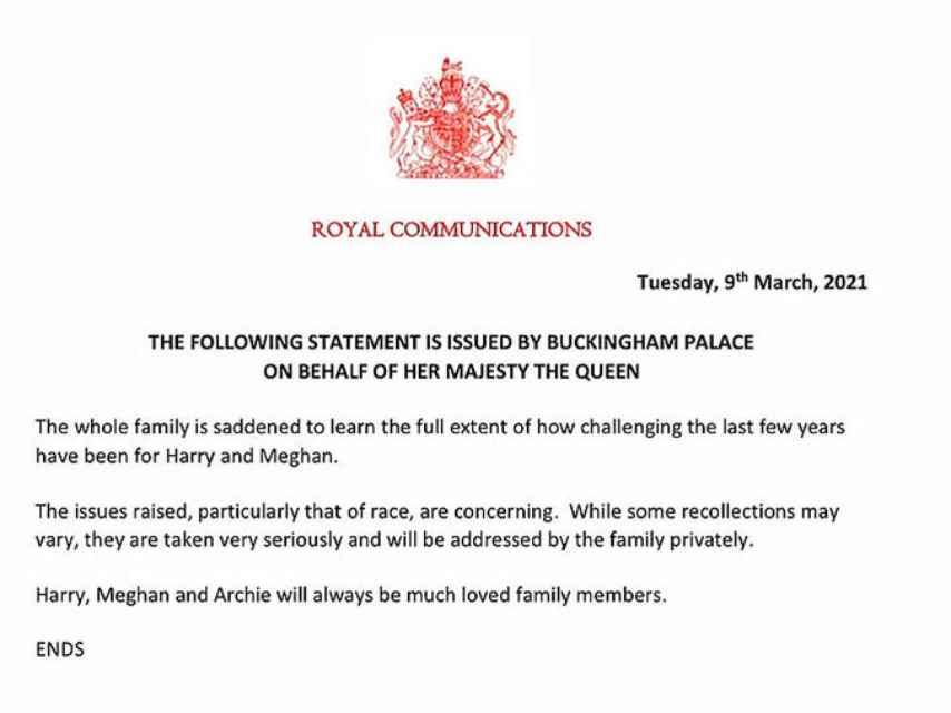 Comunicado del palacio de Buckingham firmado por la reina Isabel II.