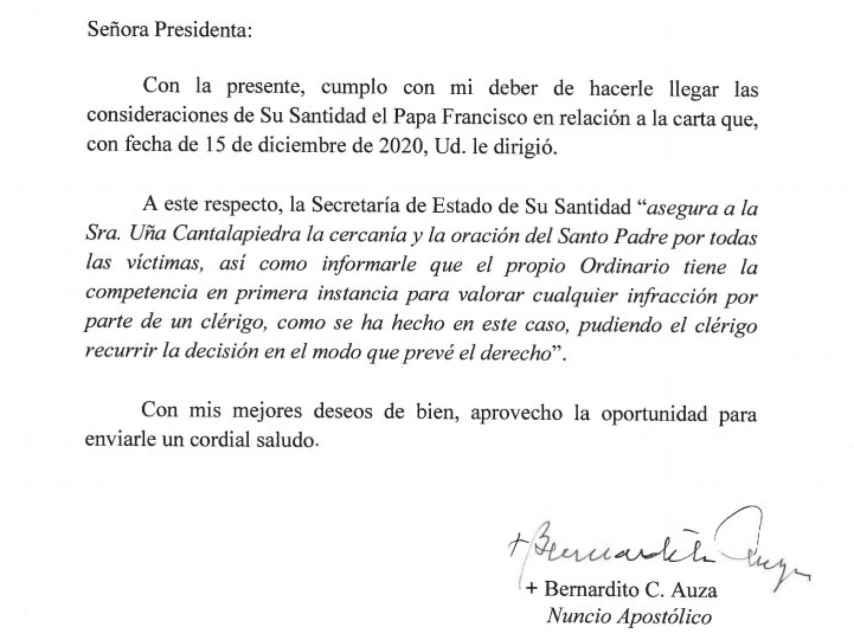 La carta de respuesta emitida desde la Santa Sede.