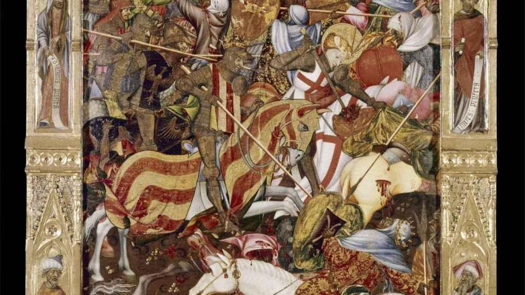 Detalle de la batalla de Puig representada en el retablo del Centenar de la Ploma.