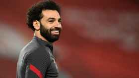 Mohamed Salah, en el calentamiento previo a un partido con el Liverpool