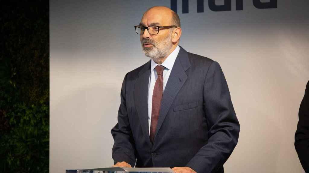 El presidente de Indra, Fernando Abril – Martorell, durante la inauguración de un centro tecnológico en la localidad barcelonesa de Sant Joan Despí.