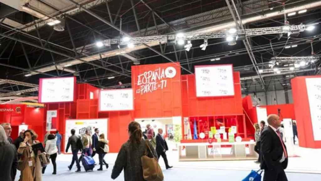 Entrada al pabellón de España en Ifema durante la inauguración de Fitur en 2020.