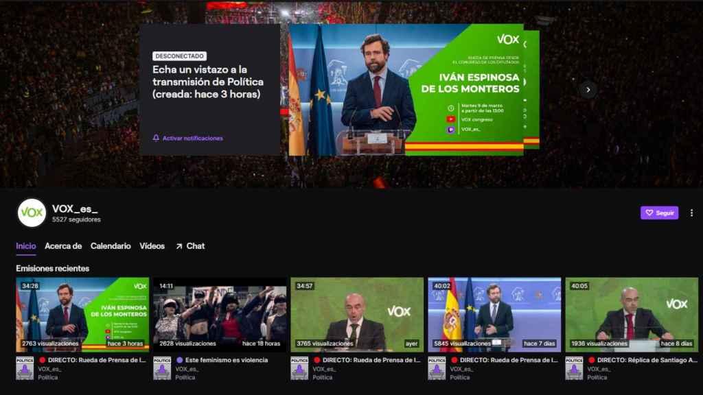 El canal de Vox en Twitch.