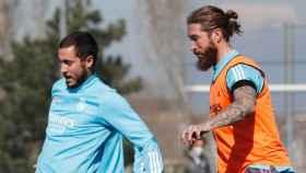 Eden Hazard y Sergio Ramos, en el último entrenamiento