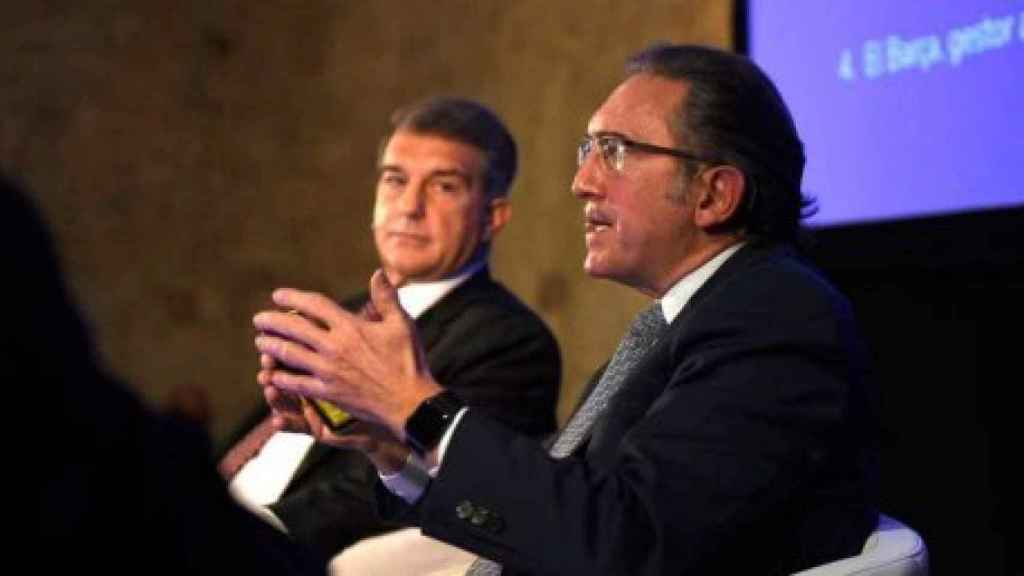 Joan Laporta y Jaume Giró, durante un acto de la campaña de Estimem el Barça