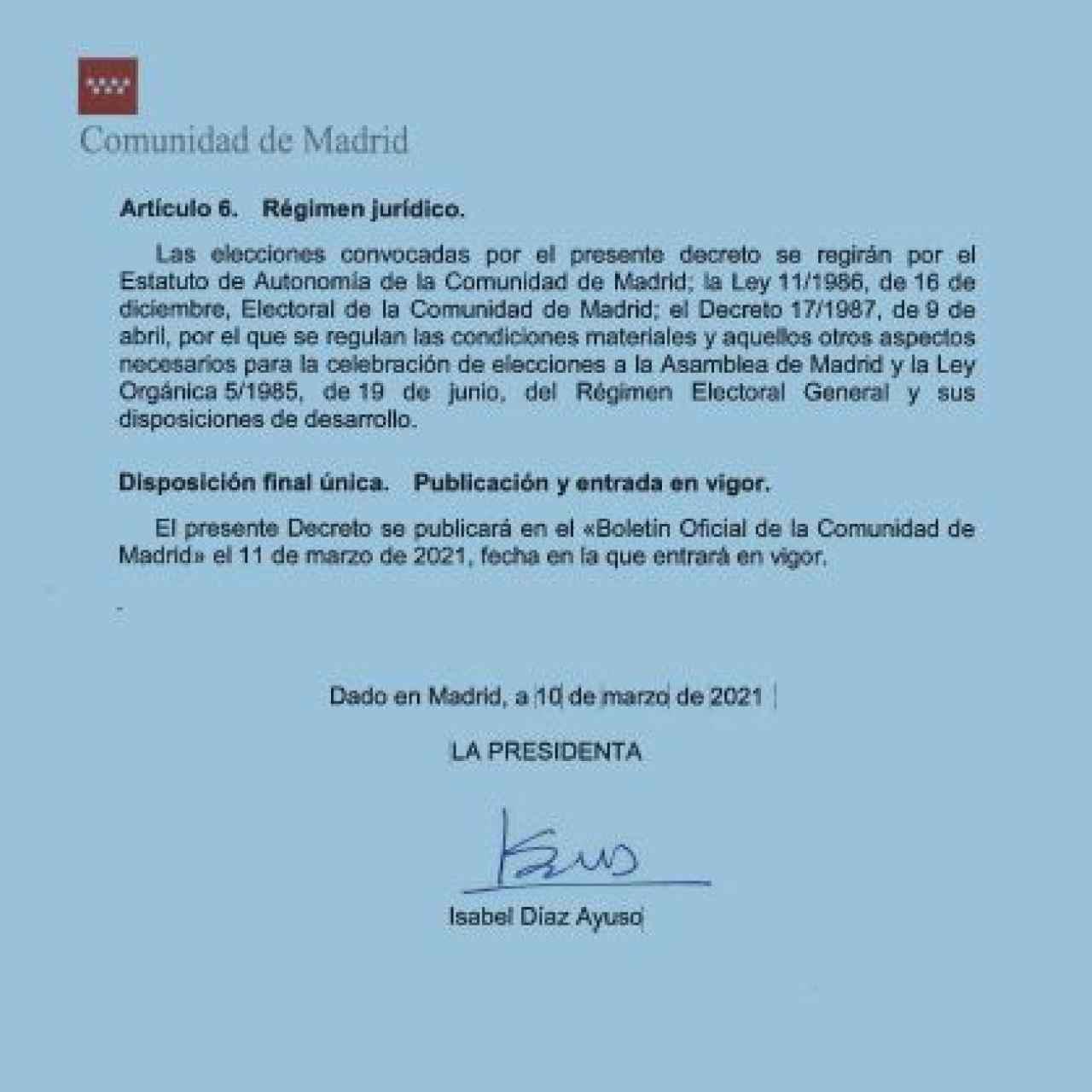 Decreto de convocatoria firmado este miércoles por Díaz Ayuso./