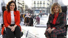 Isabel Díaz Ayuso con María Teresa Campos en 'La Campos Móvil'.