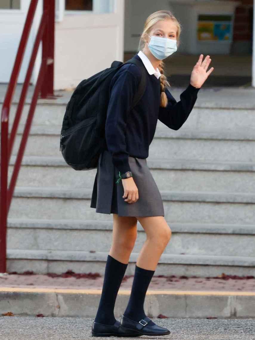 Leonor, en su primer de clases en 2020.