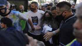 Dalma Maradona durante la manifestación por su padre