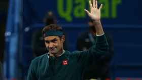 Roger Federer, durante el torneo de Doha de 2021
