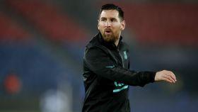 Leo Messi, durante el calentamiento en París