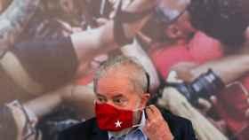 El expresidente de Brasil, Luiz Inacio Lula da Silva, durante la rueda de prensa que ha ofrecido en Sao Paulo.