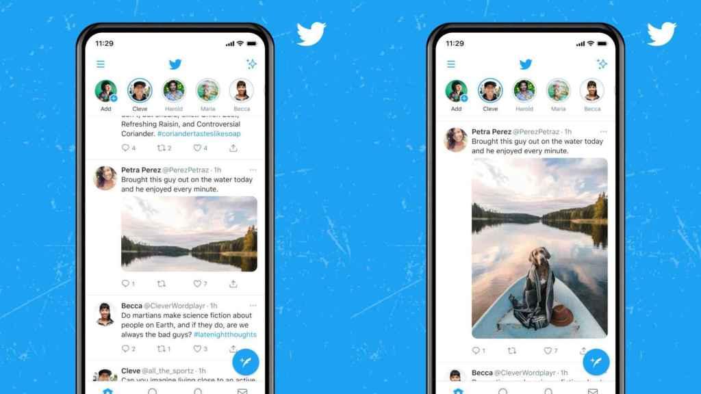Diferencia entre cómo se muestran las fotos en Twitter, y cómo se mostrarán