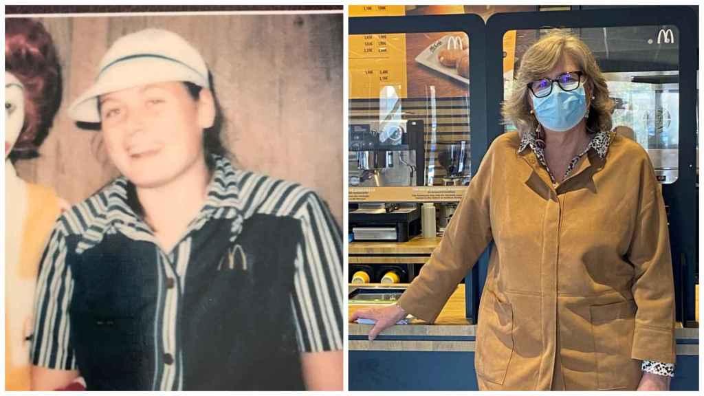 A la izquierda, Belen Pelsmaeker, una de las primeras trabajadoras de McDonald's en 1981. A la derecha, en la actualidad.