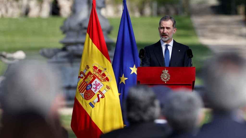 El rey Felipe VI pronuncia su discurso durante el acto de Estado de reconocimiento y memoria a todas las víctimas del terrorismo.