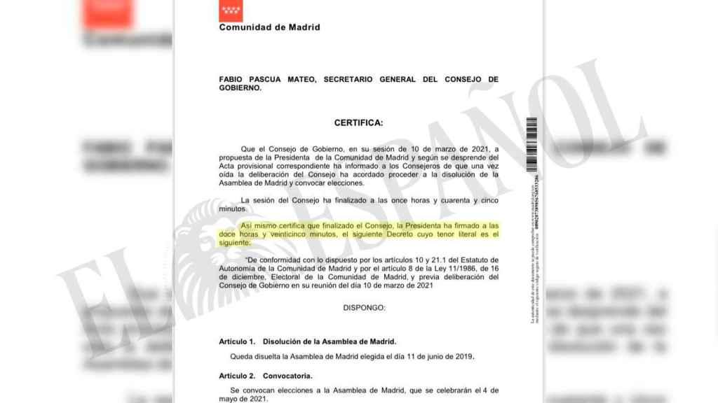 Documento que certifica que Ayuso firmó la disolución de la Asamblea a las 12.25 horas.