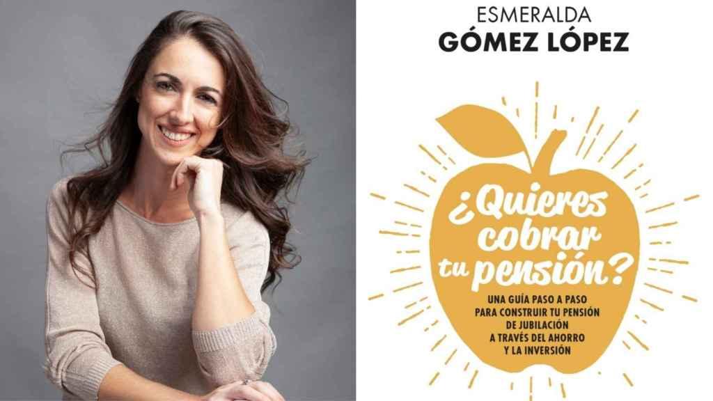 Esmeralda Gómez López y la portada de su libro '¿Quieres cobrar tu pensión?'.