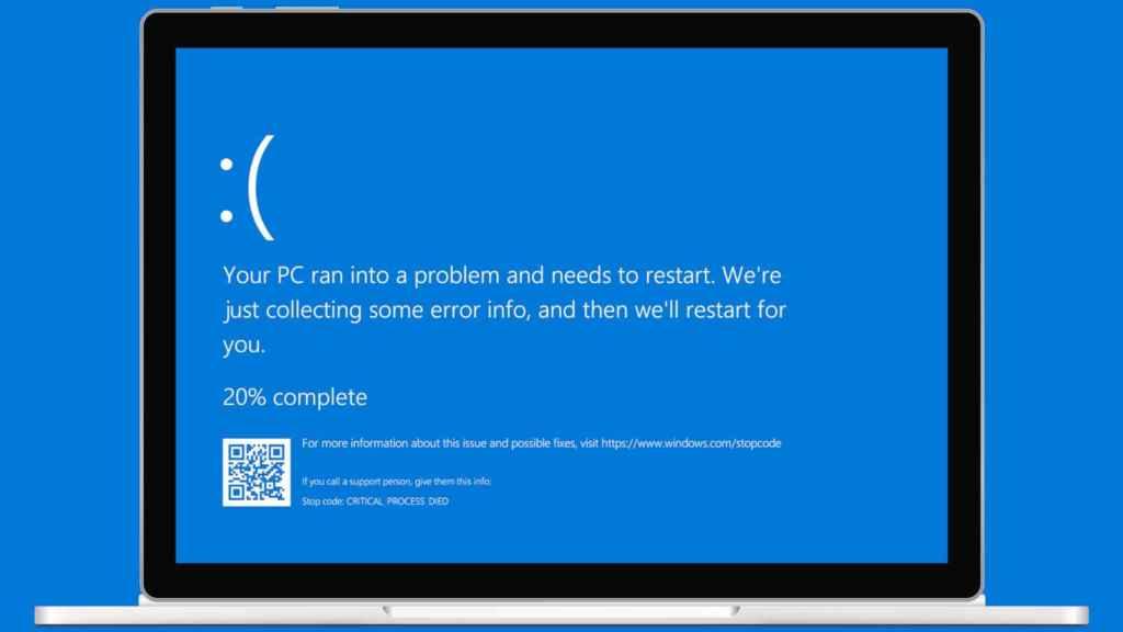 Ordenador Windows sufriendo un pantallazo azul