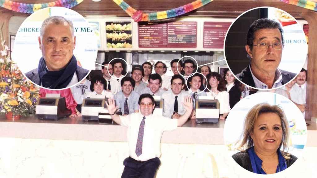 Arriba a la izquierda, Álvaro, a su derecha, Félix y, abajo, Natividad, tres trabajadores de McDonald's que ayudaron a inaugurar el primer local de España.