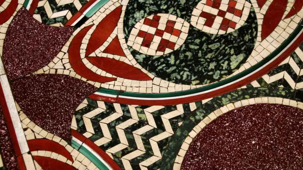 Detalle del mosaico perdido de Calígula expuesto desde este jueves en el Museo de Nemi.