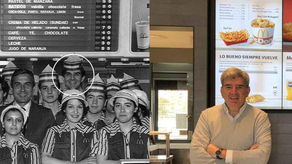 Manuel Parra, uno de los empleados que abrieron el primer McDonald's en 1981, antes y en la actualidad.