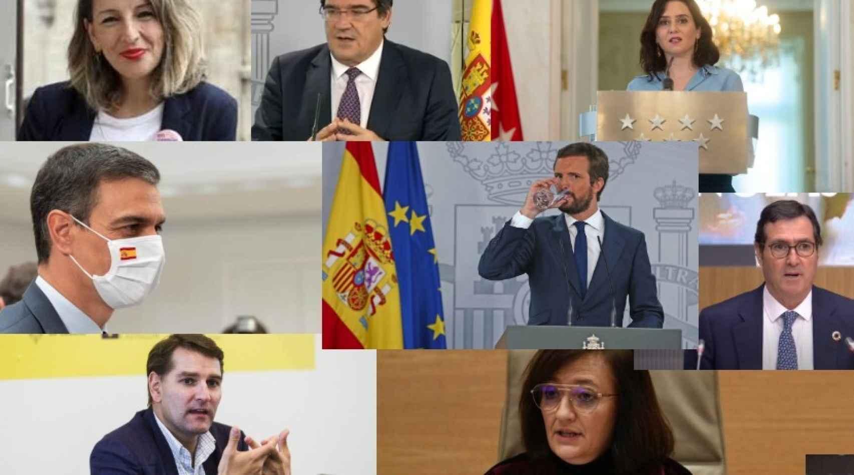 Yolanda Díaz, José Luis Escrivá, Isabel Díaz-Ayuso, Pedro Sánchez, Pablo Casado, Antonio Garamendi, Manuel de la Rocha y Cristina Herrero.