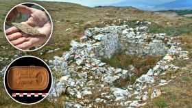 Punta de una jabalina romana y lata de la Guerra Civil halladas en Monte Bernorio, y los restos del parapeto de la muerte.