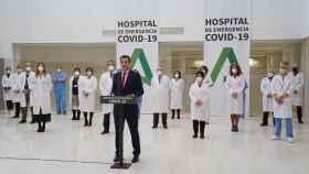 El presidente, Juanma Moreno, en la inauguración del Hospital Militar.