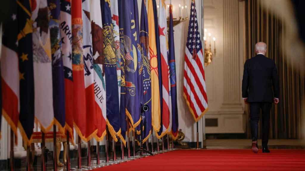 Joe Biden, presidente de Estados Unidos, al término de su primer discurso a la nación.