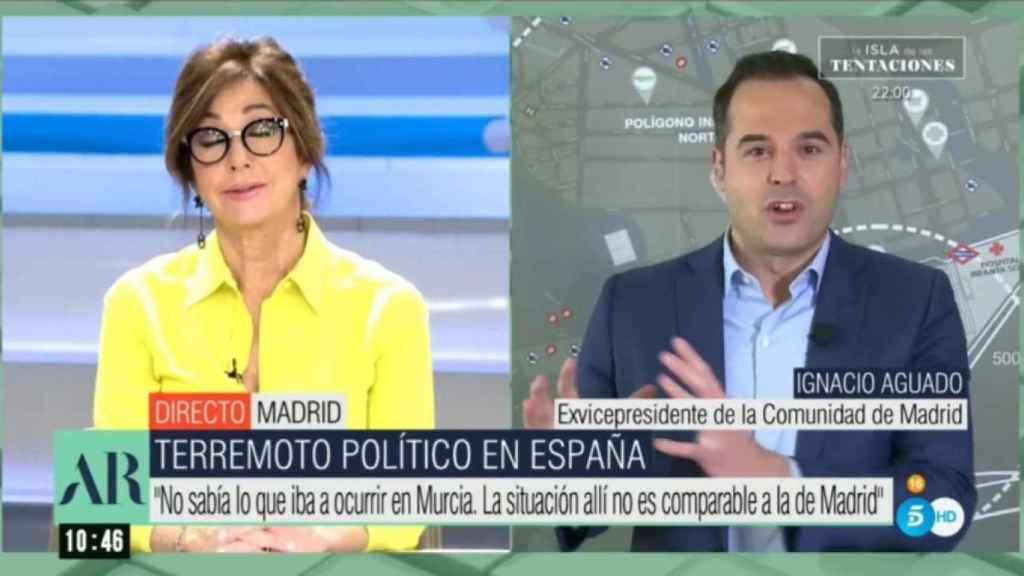 Ana Rosa e Ignacio Aguado en la entrevista del pasado jueves.