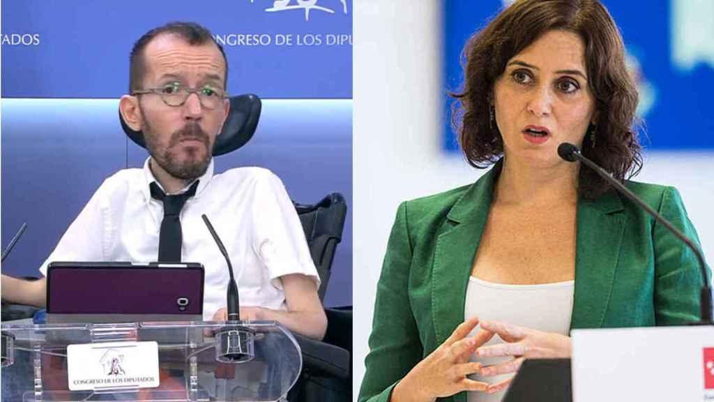 Pablo Echenique e Isabel Díaz Ayuso en un fotomontaje.