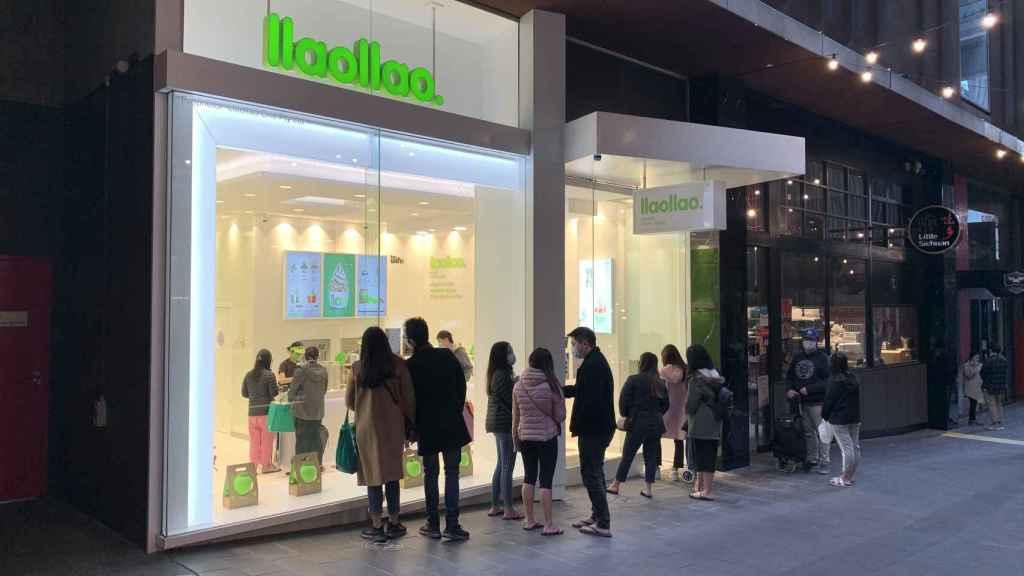 Imagen de la apertura de la primera tienda de llaollao en Australia en 2020.