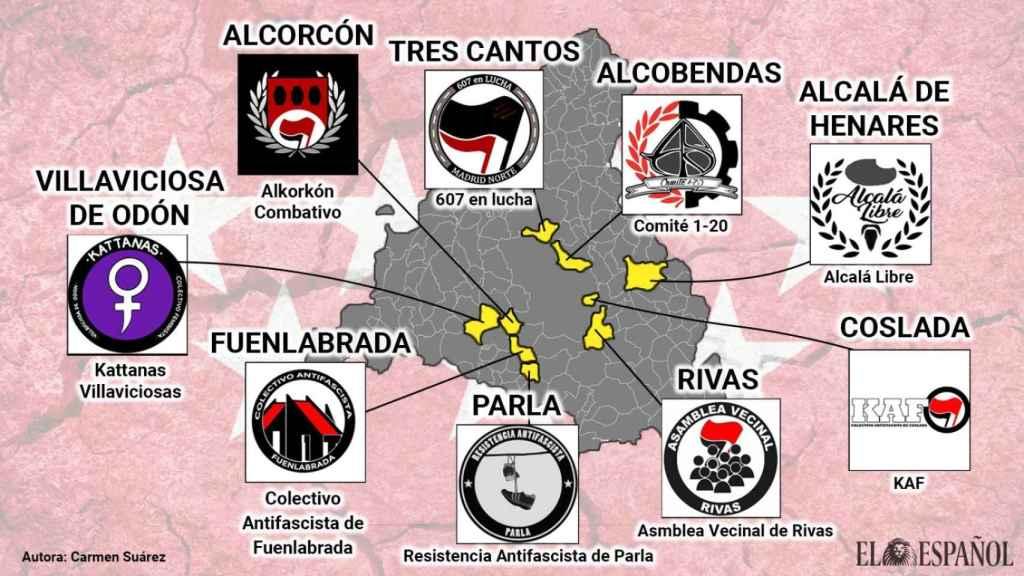 Mapa de los grupos ubicados en la provincia de Madrid