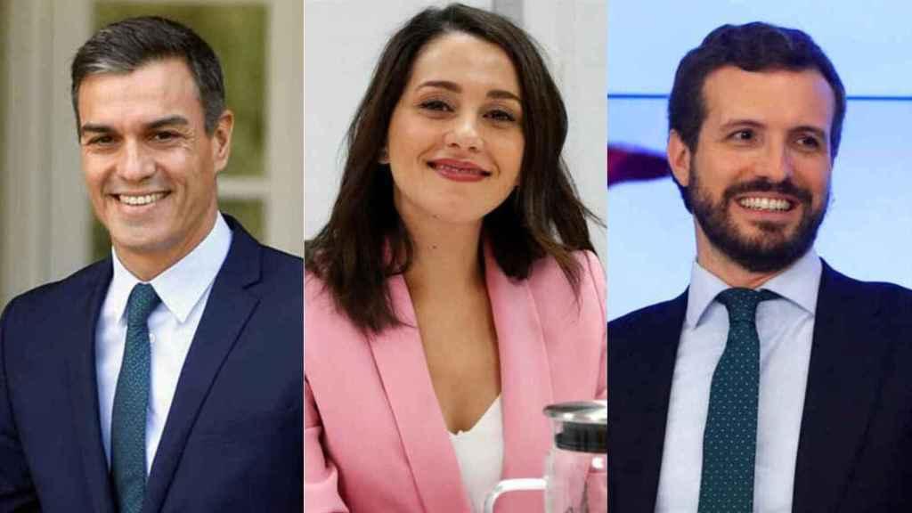 Sánchez, Arrimadas y Casado.