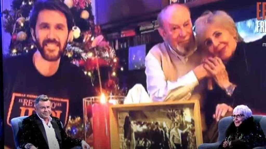 Concha Velasco en 'Sábado Deluxe' junto a una imagen con su hijo Manuel y el padre de su hijo.