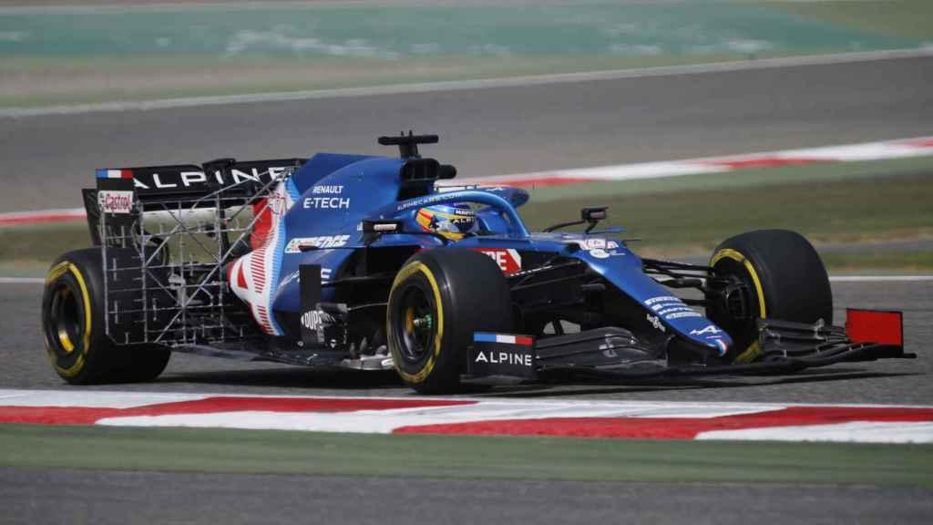 Fernando Alonso, con el Alpine en Baréin