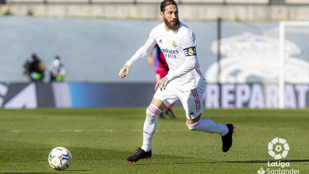 Sergio Ramos, en un partido del Real Madrid en la temporada 2020/2021