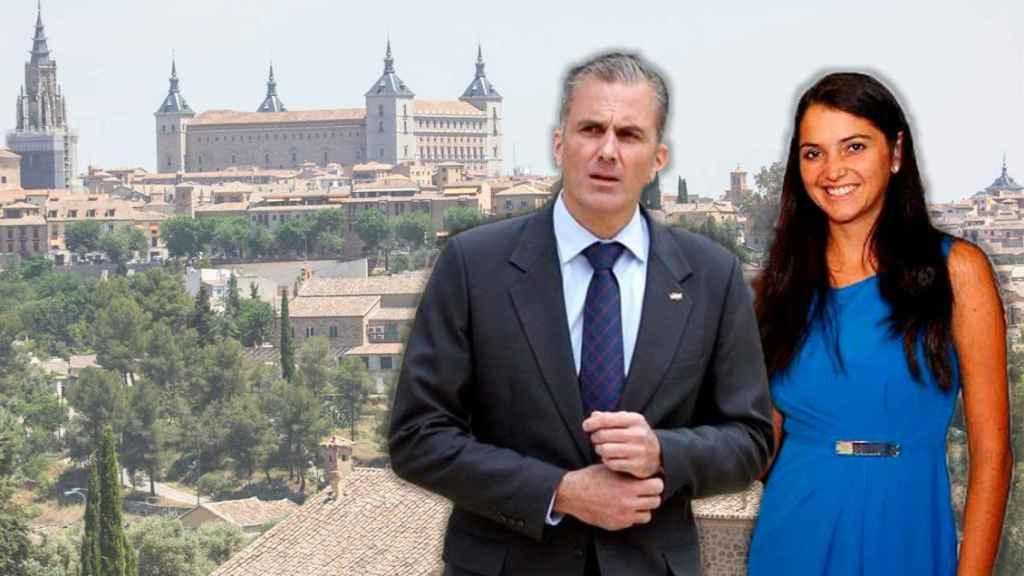 Fotomontaje con Javier Ortega Smith y su prometida, Paulina Sánchez, con el Alcázar de Toledo de fondo.