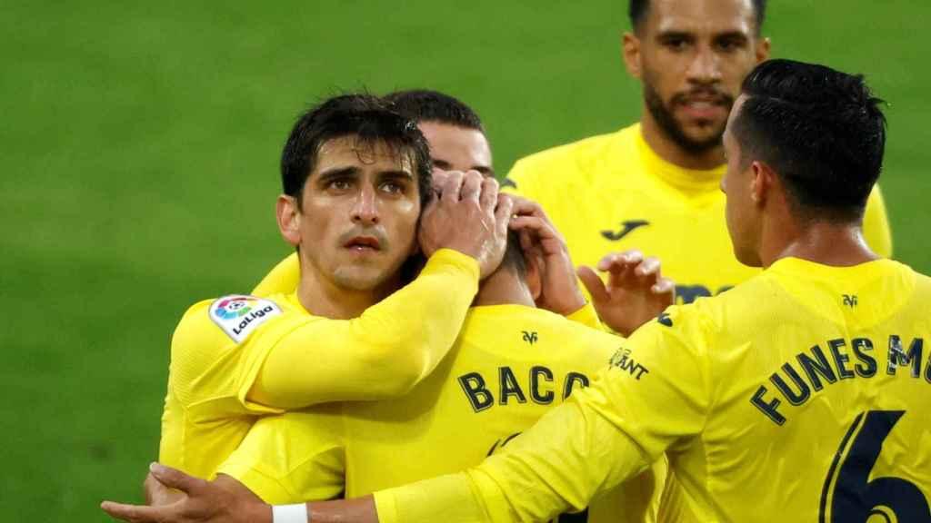 El Villarreal celebra uno de sus goles ante el Eibar