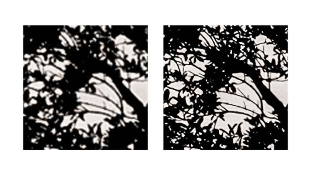 Again, on the left, a zoomed image without 'Super Resolution'.  On the right, the result.
