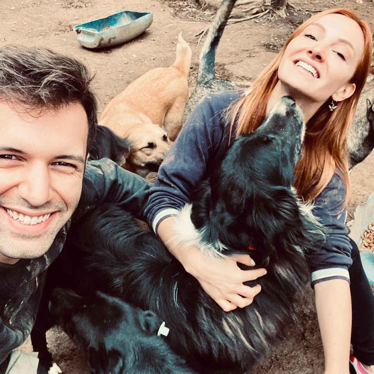 Both actors from 'Love is in the air' in a picture with the shelter dogs they visited last fall.