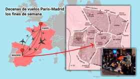 Cada día salen una media de nueve vuelos desde Francia con dirección Madrid.