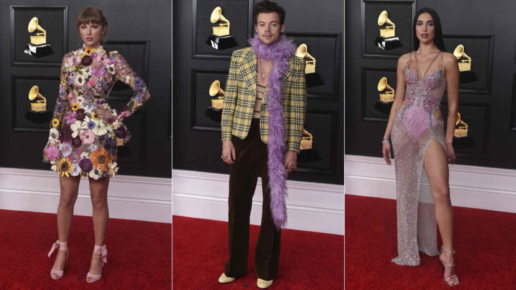 Taylor Swift, Harry Styles y Dua Lipa, en la alfombra roja de los Premios Gramy 2021.