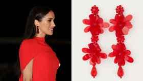 Meghan Markle y los pendientes de H&M, en un fotomontaje de JALEOS.
