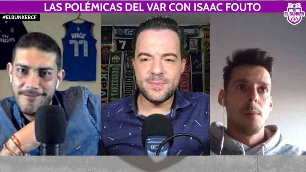 Jorge Calabrés, Nacho Peña e Isaac Fouto, en El Bunker CF