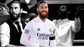 Sergio Ramos en los partidos de vuelta de los octavos de final de la Champions League ante el Manchester City y el Ajax y en un partido de esta temporada, en un fotomontaje