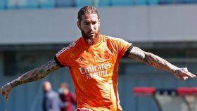 Sergio Ramos, durante un entrenamiento previo a la Champions League del Real Madrid