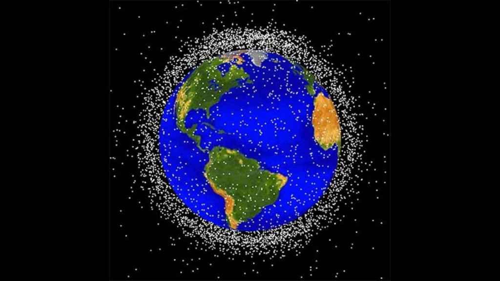 Representación de la basura espacial registrada por la NASA